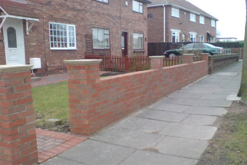 Garden wall brick work wardley block paving newcastle for Designs for brick garden walls